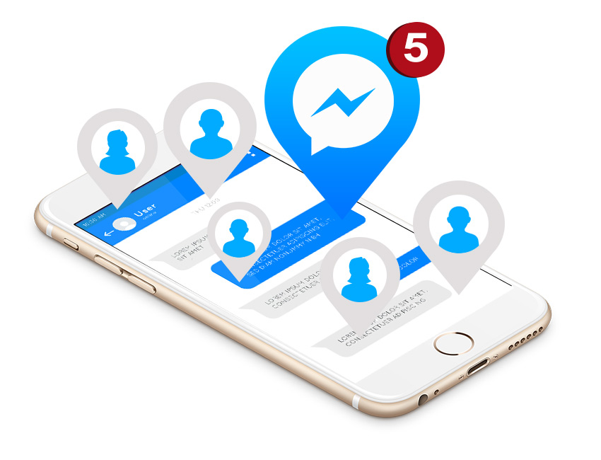 mobile with messages in messenger