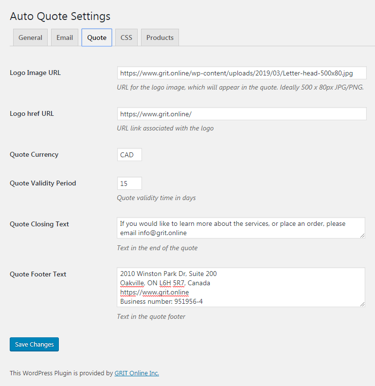 Auto quote plugin settings