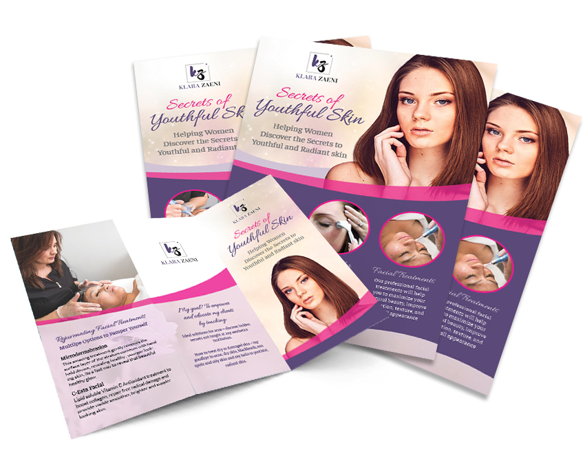 brochure and flyer for skin treatment