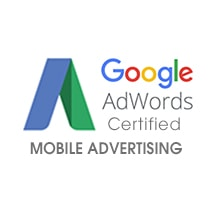 Google AdWords Certified MOBILE ADVERTISING Text Business Card Paper Word Trademark Symbol Logo Label
