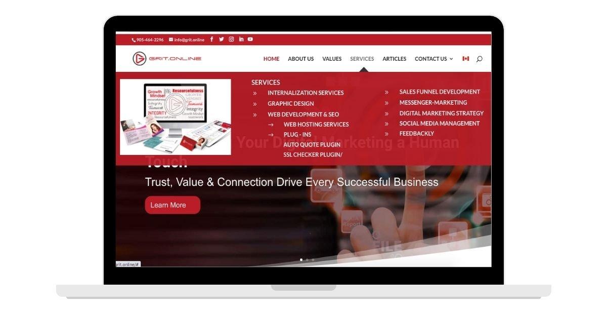 Laptop screen showing GRIT Online website and mega menu